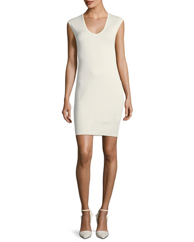 V-Neck Cap-Sleeve Fitted Dress