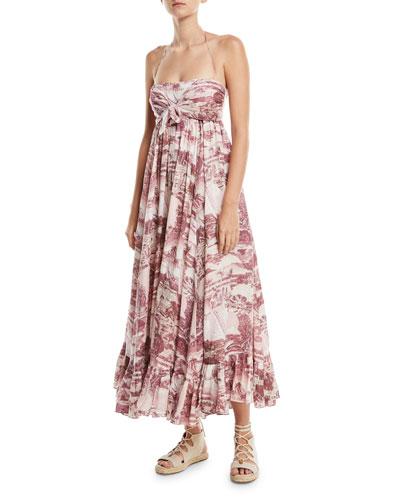 Kali Hawaiian Long Linen Coverup Dress
