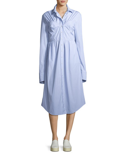 Seamed Button-Down Striped Poplin Shirtdress