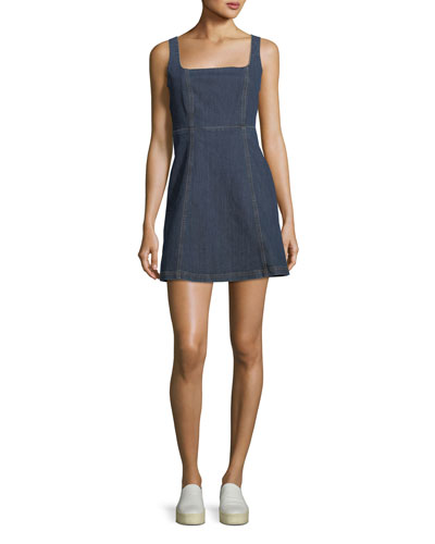 Square-Neck Sleeveless Cutout Denim Mini Dress