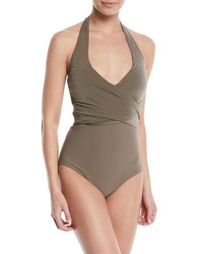 Wrap-Front Halter One-Piece Swimsuit
