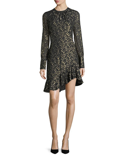 Long-Sleeve Metallic Ruffle-Hem Short Dress