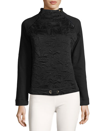 Smina Mock-Neck Jacquard Pullover Sweater