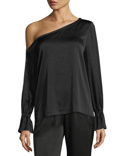 Devin One-Shoulder Long-Sleeve Top