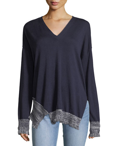 V-Neck Long-Sleeve Silk-Blend Pullover Sweater