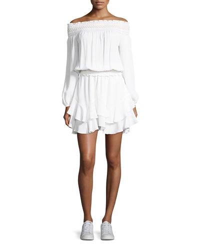Jelena Off-the-Shoulder Blouson Silk Short Dress