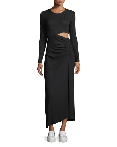 Rooney Crewneck Long-Sleeve Ribbed Cutout Dress