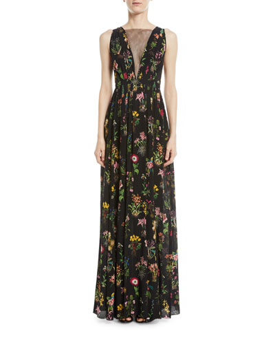 Sleeveless Floral-Print Long Evening Gown