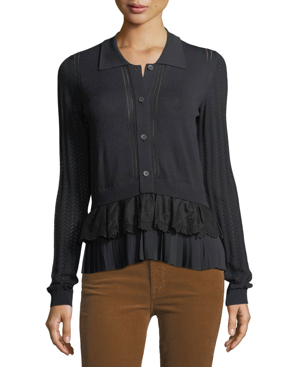 Button-Front Long-Sleeve Mixed-Knit Top with Chiffon Ruffle