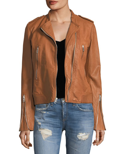Lyon Zip-Front Leather Jacket