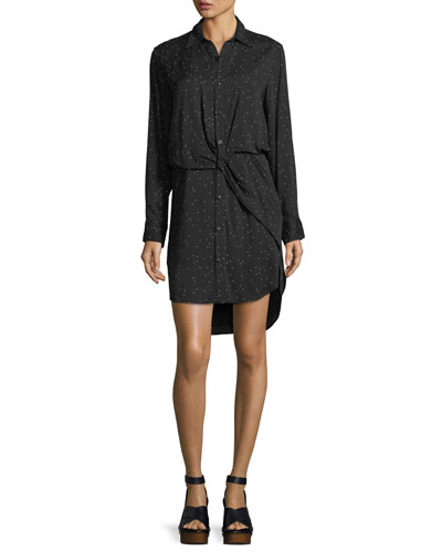 Lucas Speckled-Print Button-Front Collared Shirtdress
