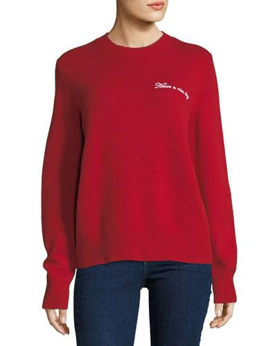 Vicky Crewneck Wool Boyfriend Pullover Sweatshirt