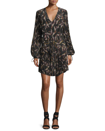 Rory V-Neck Long-Sleeve Silk Printed Dress