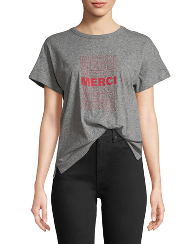 Merci Crewneck Short-Sleeve Heathered Cotton Tee