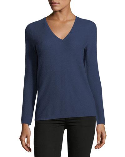 Long-Sleeve Cashmere V-Neck Sweater