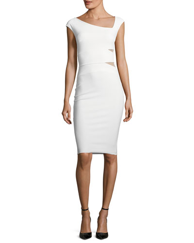 Yashila Asymmetric Cutout-Illusion Cocktail Dress