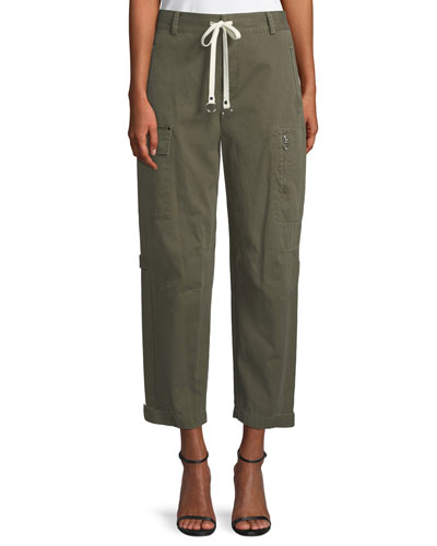 Garment Washed Twill Wide-Leg Cargo Ankle Pants