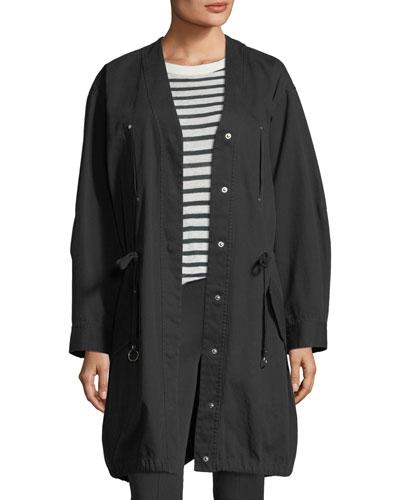 Snap-Front Oversized Washed Cotton Twill Jacket