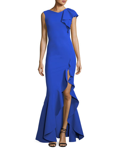 Chitris Draped Mermaid Front-Slit Gown