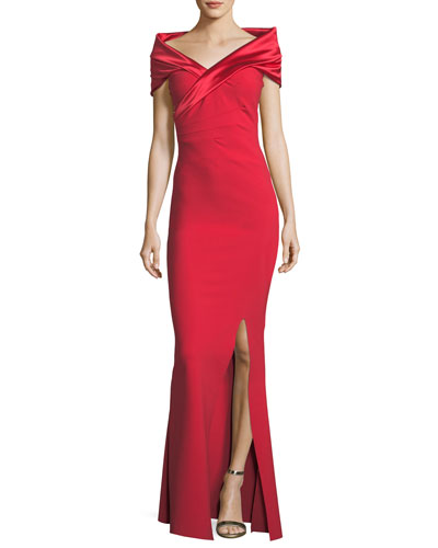 Benje Front-Slit Off-the-Shoulder Gown