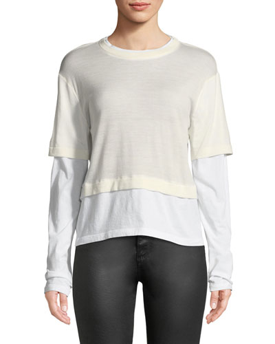 Fine-Gauge Layered Cropped Top