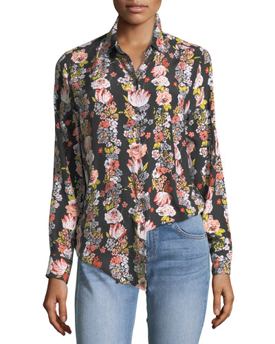 Essential Botanical Garland Button-Front Floral-Print Shirt