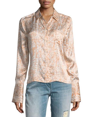 Huntley Crocodile-Print One-Pocket Silk Satin Shirt
