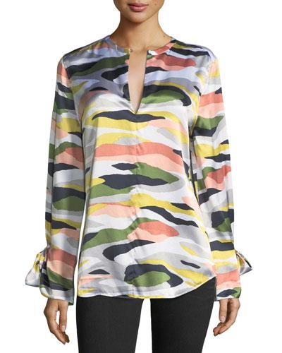 Camo-Print Tie-Sleeve Silk Satin Tunic
