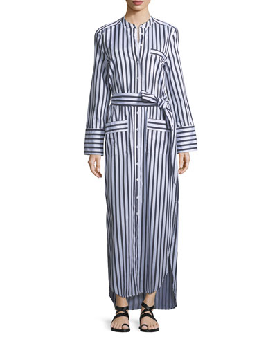 Britten Button-Front Striped Poplin Maxi Dress