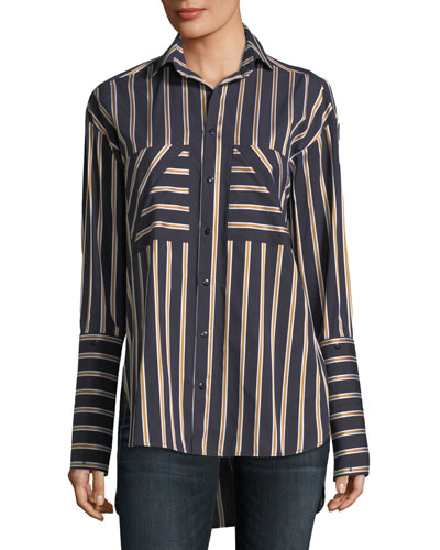 Striped Button-Front Cotton Shirt