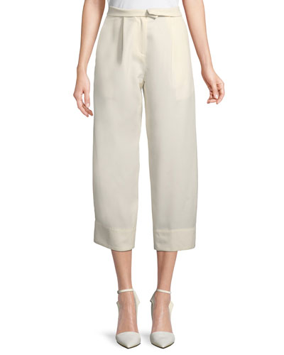 High-Waist Wide-Leg Ankle Wool Trousers