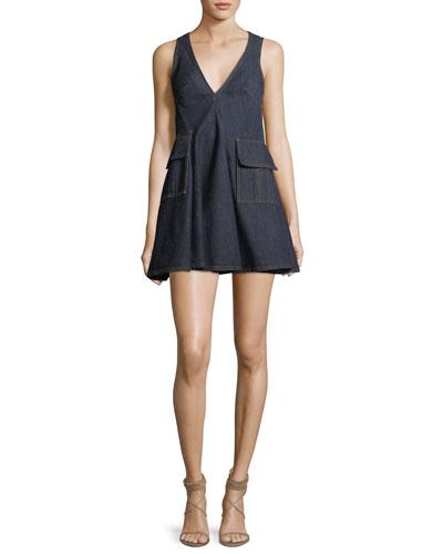 V-Neck Sleeveless Denim Short Dress