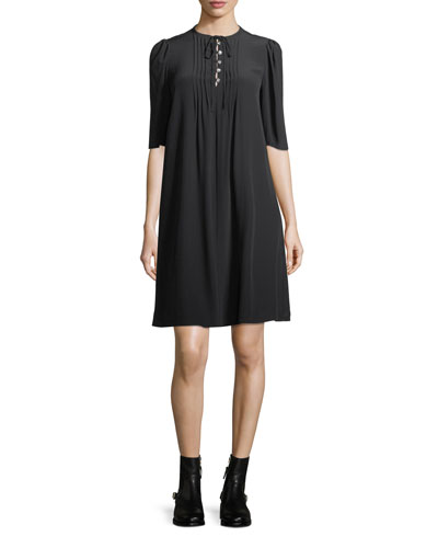 Pintuck Half-Sleeve A-Line Silk Dress