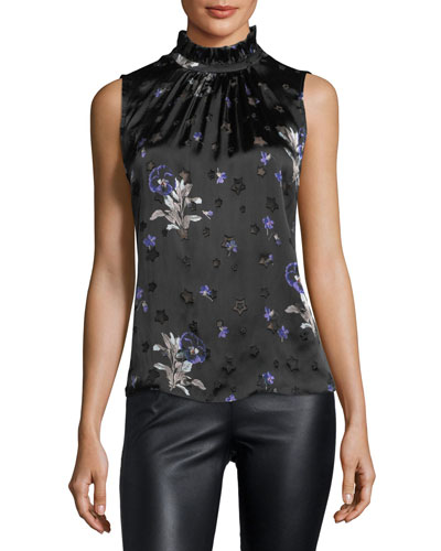 Sleeveless Star-Burnout Blouse with Floral-Print