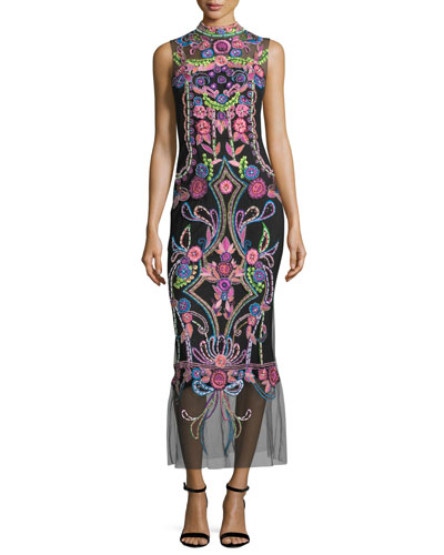 Aztec Floral Beaded Sheer Midi Cocktail Dress