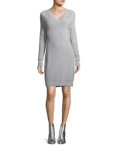 Long-Sleeve Back-Tie Sweater Dress