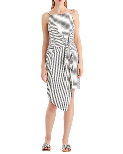Striped Tie-Front Sleeveless Dress