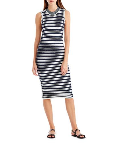 Striped Crewneck Sleeveless Knit Dress