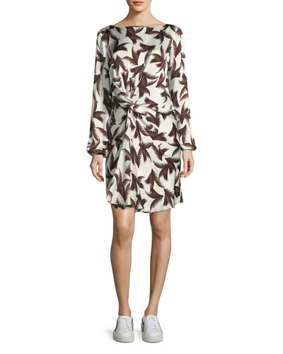Freja Twist-Front Printed Silk Dress