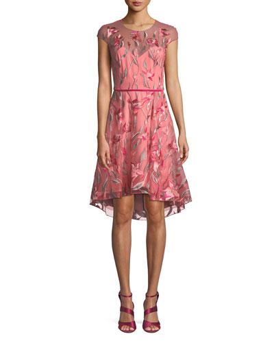 Cap-Sleeve Floral-Embroidered Tulle Cocktail Dress w/ Velvet Belt