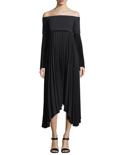Serena Off-the-Shoulder Long-Sleeve Pleated Midi Dress