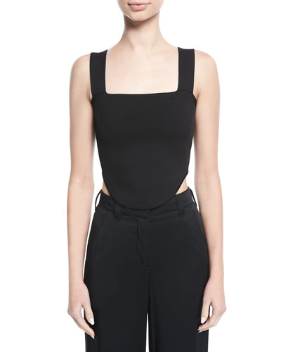 Mali Square-Neck Curved Crop Top