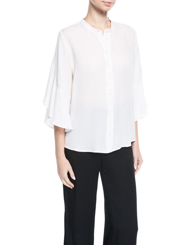 Lennon Button-Front Silk Blouse