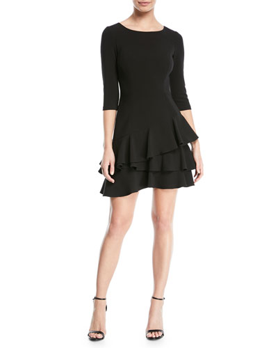Half-Sleeve Flounce Mini Dress