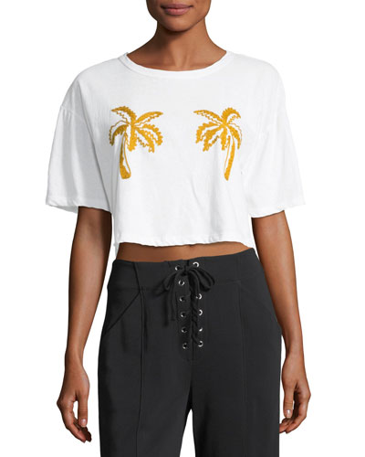 Teagan Palm-Embroidered Crop Cotton Tee