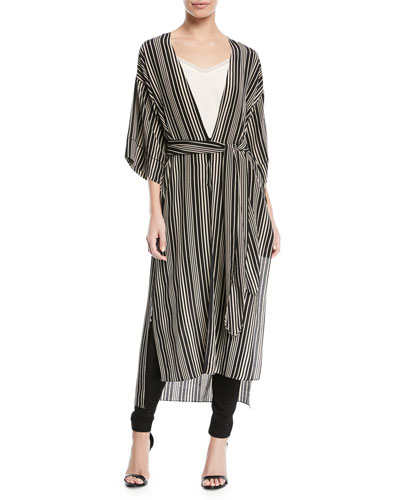 Long V-Neck Self-Tie Kimono Jacket