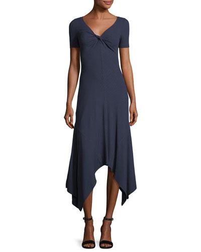 Reva Twist-Front Short-Sleeve A-Line Rib-Knit Dress