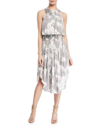 Sleeveless Printed Ruched Midi Dress