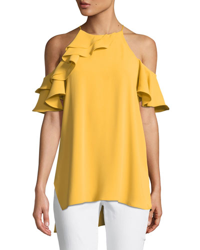 Asymmetric Cold-Shoulder Flounce Top