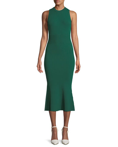 Sleeveless Ribbed-Knit Dress